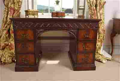 CHIPPENDALE STYLE PEDESTAL WRITING DESK