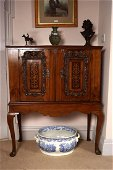 ANTIQUE WALNUT AND MARQUETRY CABINET-ON-STAND