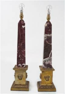 PAIR OF ROUGE ROYAL MARBLE TABLE LAMPS