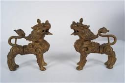 PAIR OF SINO-TIBETAN FOO DOGS