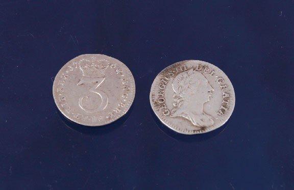 4: Two George III three pence piece