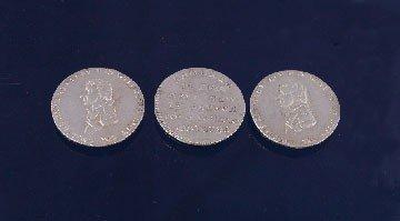 5: Three silver Nelson commemorative pieces
