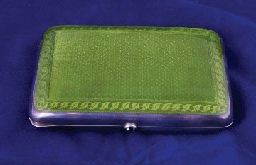 24: Sterling and enamelled silver cigar box