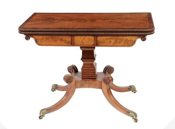 306: Pair Regency period mahogany and boxwood inlaid ca