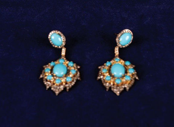15: Turquoise and diamond silver/gold drop earrings
