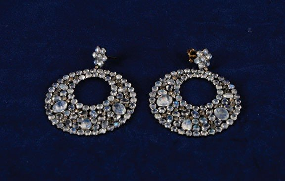 20: Moonstone and rose diamond circular drop earrings