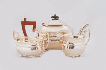 606: Three piece Elkington silver plated tea service