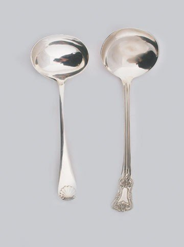 620: Pair (ribbon tied) silver plated ladles
