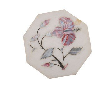 1250: Mother o'pearl inlaid marble octagonal panel