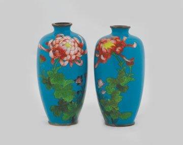 1256: Pair cloisonne vases