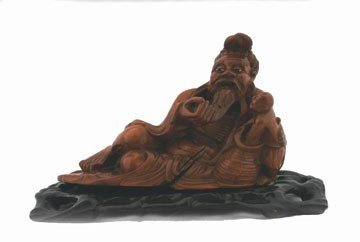 1257: Chinese carved rootwood reclining figure with you