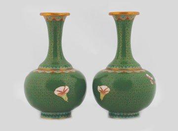 1258: Pair twentieth-century Chinese cloisonne vases