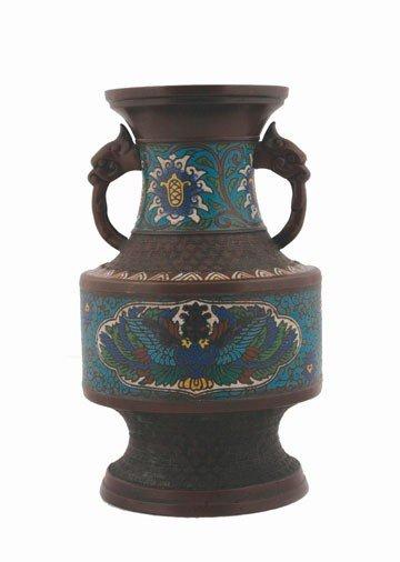 1259: Nineteenth-century enamelled bronze vase
