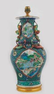 1261: Pair nineteenth-century polychrome vases