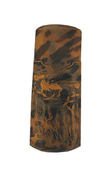 1266: Japanese tortoiseshell and gilded pouch
