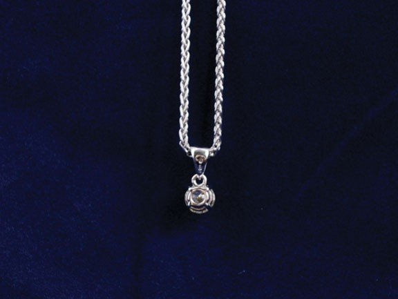 3: 18ct white gold chain with pendant