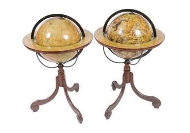 520: Pair Edwardian terrestrial globes
