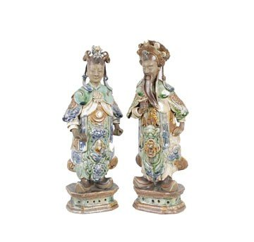 1260: Pair Sancai polychrome figures