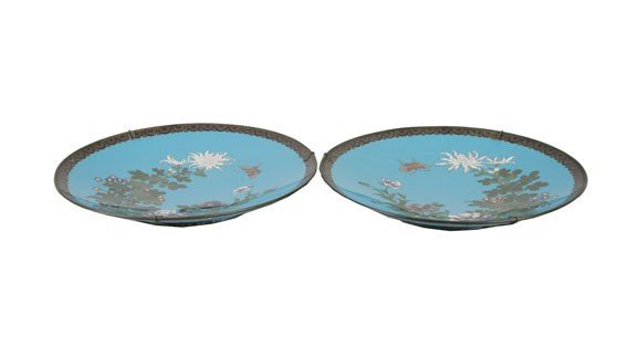 1268: Pair of rare Japanese cloisonne silver wired plat