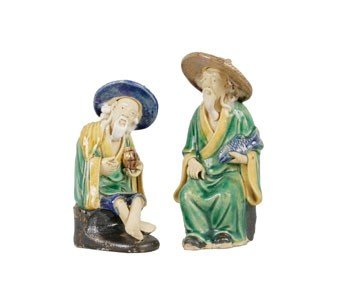 1272: Pair of 1890's Shekwan Chinese earthenware figure