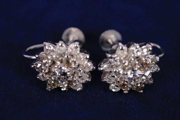 16: Pair diamond mounted screw-on cluster earrings