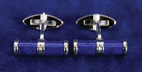 18: 9 carat yellow gold lapis cuff links