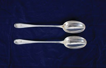 751: Pair large silver rat tailed serving spoons