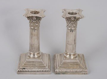 761: Pair silver candlesticks