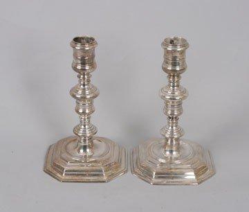 762: Pair Dublin silver candlesticks