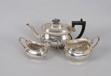 770: Three piece silver tea service