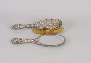 774: Silver backed brush and mirror