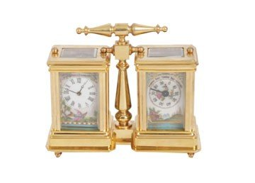 1366: Dual brass carriage clock and barometer