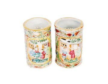 1500: Pair nineteenth-century Chinese famille rose vase