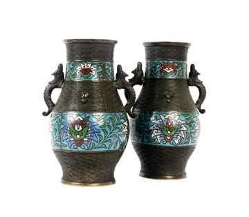 1511: Pair of antique Chinese bronze and cloisonné vase