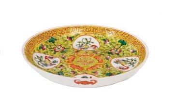 1514: Chinese yellow ground 'bats' plate
