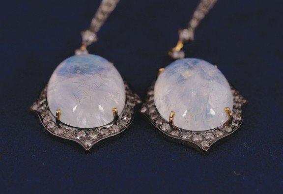 1: Moonstone and diamond 1 ct. oval drop earrings