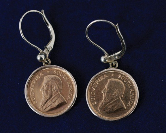 8: Pair 1/10 krugerrand gold earrings