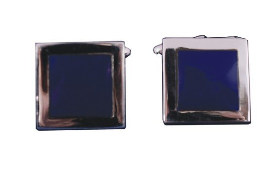 11: Lapis and silver cufflinks in case
