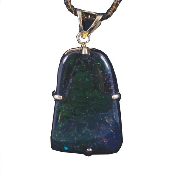 25: Rare ammolite and silver gilt pendant