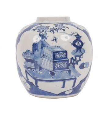 1513: Chinese Qing Dynasty blue and white jar