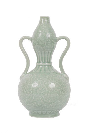 1662: Chinese Qing dynasty double gourd vase