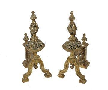 19: Important pair of large nineteenth-century brass fi