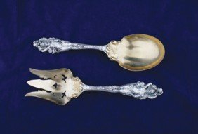 Ornate Figural Serving Spoon And Fork
