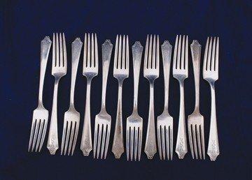 Set of twelve sterling silver forks