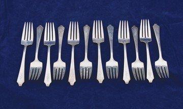 Set of twelve sterling silver pastry forks