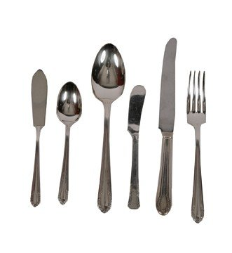 Fifty piece sterling silver canteen of cutlery