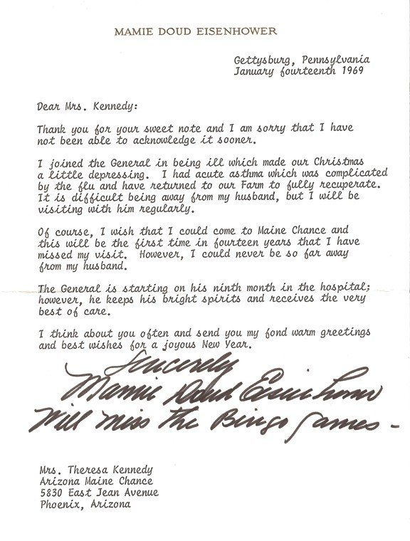 Eisenhower, Mamie Doud. Typed letter signed