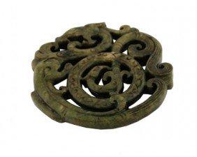 Chinese Qing dynasty pierced dragon scroll green jade a