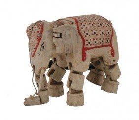 Carved Nineteenth-century Polychrome Elephant Puppet