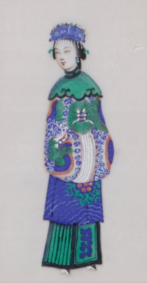 Pair of nineteenth-century Chinese silk embroidary
